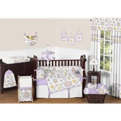 Sweet Jojo Designs Lavender and White Suzanna Baby Bedding 9 piece Girl Nursery Crib Set