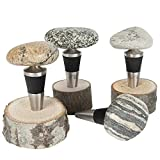 Sea Stones Artisanal Steel Cone Wine Bottle, Liquor Bottle and Olive Oil Stopper with Natural Hardwood Base