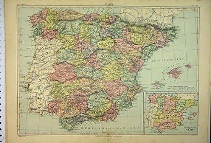 Spagna E Isole Baleari Cartina.Il Mediterraneo Di Europa Delle 1887 Della Mappa Isole Baleari Della Spagna Amazon It Casa E Cucina
