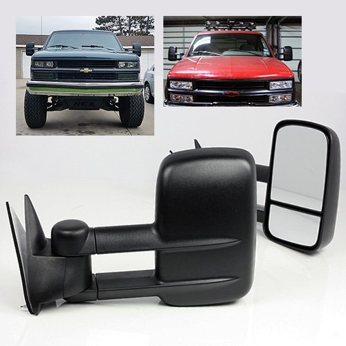 ModifyStreet Manual Extendable Side Towing Mirrors for 88-99 Chevy/GMC C/K 1500, 88-00 Chevy/GMC C/K 2500/3500, 92-99 Chevy/GMC Suburban 1500/2500, 95-99 Chevy Tahoe, 92-99 GMC Yukon (92 93 Chevy C/k Truck)