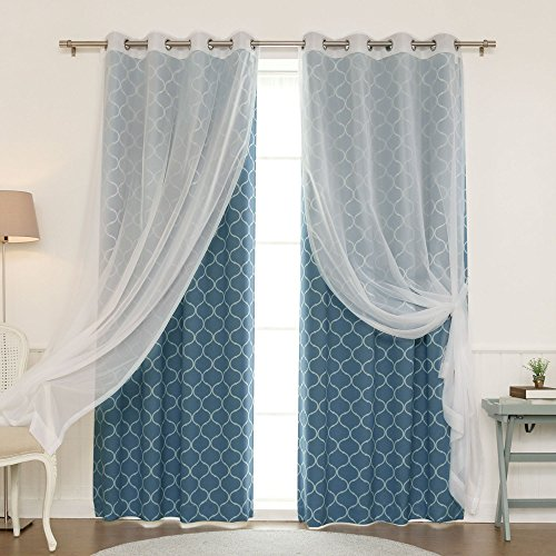 Best Home Fashion uMIXm Mix and Match Voile Semi-Sheer and Quatrefoil Print 4 Piece Curtain Set – Stainless Steel Nickel Grommet Top – Lagoon - 52