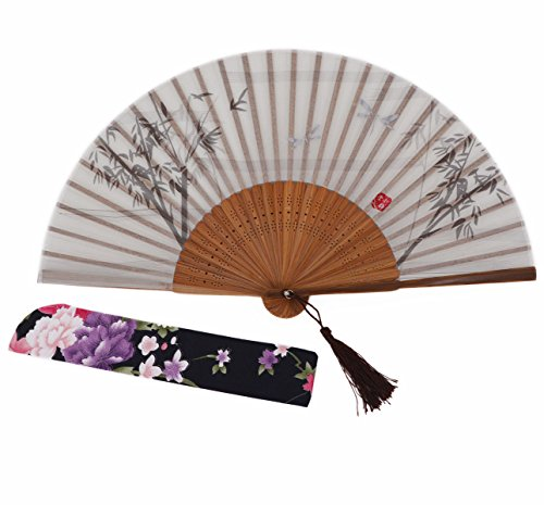 Amajiji Chinese Japanese Handheld Folding Fan, Black/White Plant and Red Seal,Chinese Vintage Retro Style (AW-3)]()