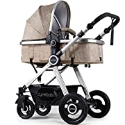 Newborn Baby Stroller Pram Stroller Folding Convertible Carriage Luxury Bassinet Seat Infant Pushchair with Foot Muff(Light Camel)