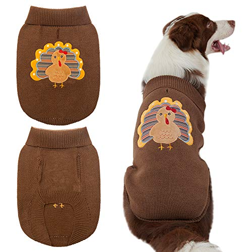 EXPAWLORER Thanksgiving Dog Sweaters with Turkey Pattern Soft and Warm Knitted Clothes Brown for Dogs