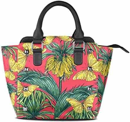 Jennifer PU Leather Top-Handle Handbags Cute Ladybug And Leaves Patterns Single-Shoulder Tote Crossbody Bag Messenger Bags For Women