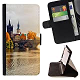 Graphic4You Prague Czech Republic Postcard View Thin Wallet Card Holder Leather Case Cover for Samsung Galaxy A5 (2017)