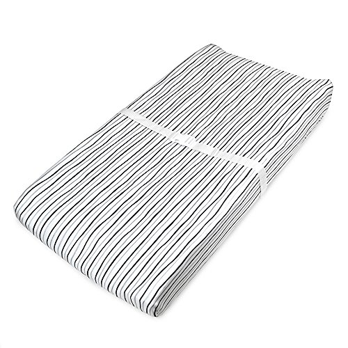 (American Baby Company Printed 100% Natural Cotton Jersey Knit Fitted Contoured Changing Table Pad Cover,Works with Travel Lite Mattress, Silver Black Stripe, Soft Breathable, for Boys and Girls)