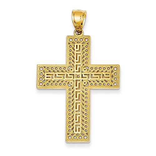 Lex & Lu 14k Yellow Gold Greek Key Filigree Cross Pendant