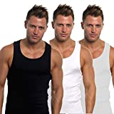 Mens Fitted 100% Cotton Vests Pack of 6 (Extra Large, Black/Grey/White)