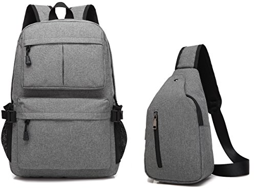 Laptop Backpack Lightweight School College Bag Backpack +Sling Backpack 2 PCS Fits 15.6 inch Laptop (Light Small Notebooks)