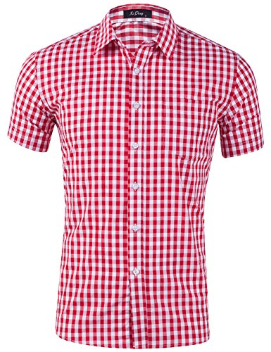XI PENG Men's Casual Cotton Plaid Checkered Gingham Short Sleeve Dress Shirts (Red White Tartan, XX-Large)