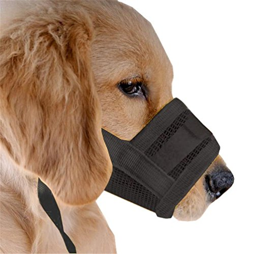 Kwan Dog Muzzle for Anti Biting Barking Chewing fit Long Medium Snout Breed Nylon Adjustable Loop (M) (Long Snout)