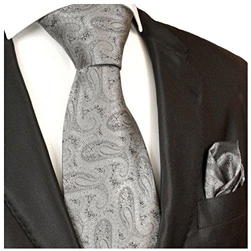 Cravates 2 pièces monkey einstecktuch de paul malone argent/gris/noir/motif marié hochzeitskrawatte