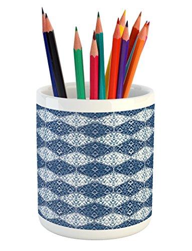 Ambesonne Navy Blue Pencil Pen Holder, Oriental Pattern in P