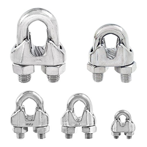 Amazon.com: Stainless Steel Duplex 2-Post Wire Rope Clip Cable Clamp ...