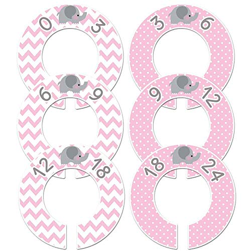 Pink Elephant Girls Baby Closet Dividers Set of 6 Fits 1.5 inch Rod ()