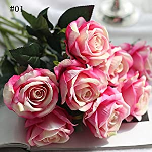 BLagenertJ 1Pc Artificial Real Looking Fake Roses Flower Garden Home DIY Wedding Bridal Party Decor 3