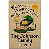 Happy Camper World Welcome to Our Home Away from Home Personalized 5th Wheel Campsite Flag, Customize Your Way (Black/Gray Trim)