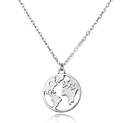 79b59318b75b ZUXIANWANG Collar Colgante Mapa del Mundo el Día de la Tierra de Collares  Joyería Personalizada Wanderlust