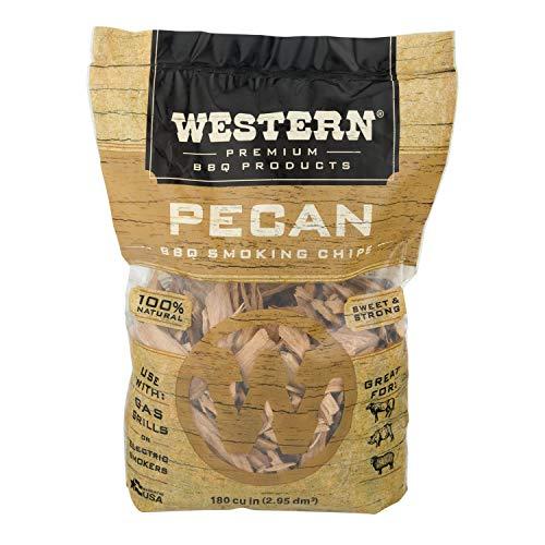 Smoking Pecan Wood - Western Premium BBQ Products Pecan BBQ Smoking Chips, 180 cu in