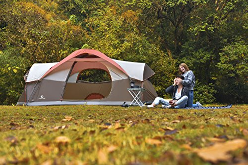 Big Family Camping Tents. ALPHA CAMP Dome Family Camping Tent 8 Person - Orange 17' x 10'