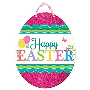 "Egg-stra Special Happy Easter Egg Sign Party Decoration, Fiberboard , 11 x 11"" (Two-Pack)"