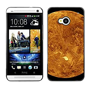 Qstar Arte & diseño plástico duro Fundas Cover Cubre Hard Case Cover para HTC One M7 ( Red Planet Mars Yellow Craters Landscape View)