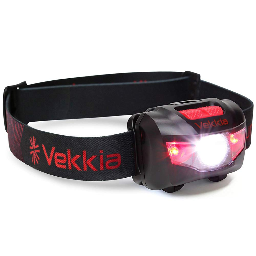 Ultra Bright CREE LED Headlamp - 160 Lumens, 5 Lighting Modes, White & Red LEDs, Adjustable Strap, IPX6 Water Resistant. Great For Running, Camping, Hiking & More. Batteries Included by Vekkia