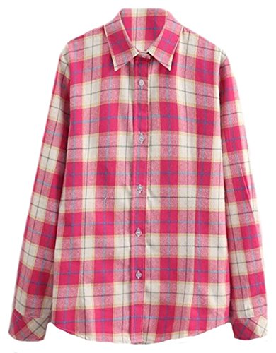 [Littler Store Women's Casual Long Sleeve Cotton Fashion Plaid Shirts 4US-L] (Group Dressing Up Ideas)