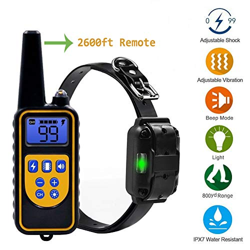TKDY Dog Training Collar, Waterproof Rechargeable 2600ft Remote Shock Collar, 1~99 Shock Levels with LED Light and Beep Vibration Shock Electronic Collar for Puppy Small Medium Large Dogs.