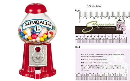 (Chrysnbon Dollhouse Miniature Counter-TOP Gumball Machine)