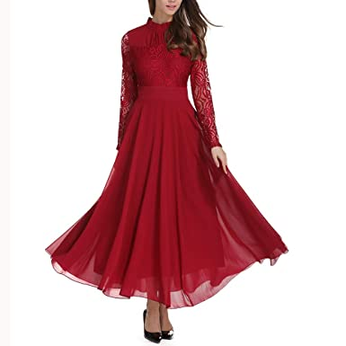 Women Ladies Elegant Long Sleeve Evening Dress Lace Long Sleeve Empire Formal Party Prom Dress: Clothing