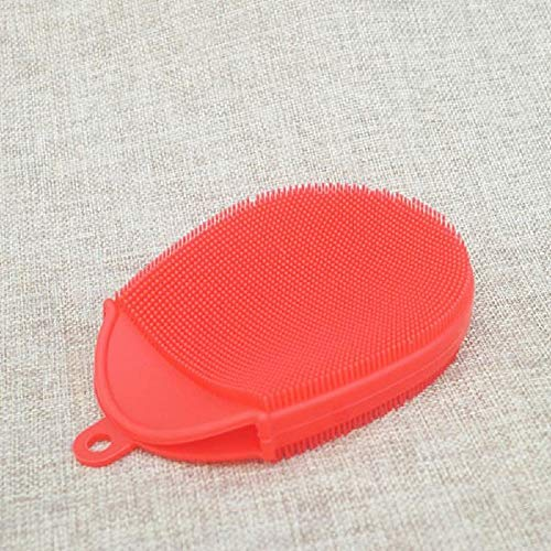 - Body Brush Set -1 Piece Silicone Shower Brush Shower Gel Shower Gloves SPA Massage Wash Face Exfoliating Brush Bathroom Accessories (Red)