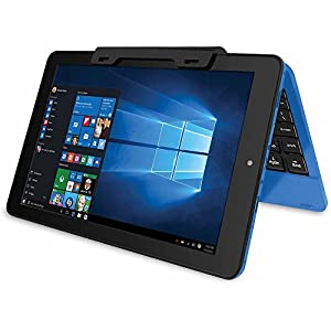 """RCA Cambio 10.1"""" 2-in-1 Tablet 32GB Intel Quad Core Windows 10 Blue Touchscreen Laptop Computer with Bluetooth and WIFI"""