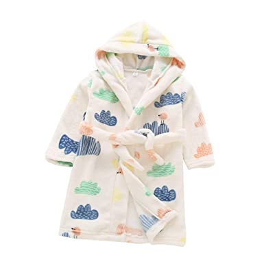 827c4d516d Toddlers kids baby Hooded Soft Warm Fleece Bath Robe Children Pajamas  Sleepwear (2T