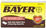 Bayer Genuine Aspirin Pain Reliever/Fever Reducer Coated Tablets - 325mg Pack of 3