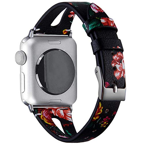 Price comparison product image VIQIV Fashion Leather Bands for Compatible with Apple Watch 40mm 44mm iWatch Sport Series 4,  Dressy Bracelets Jewelry Wristband Strap for Women Men Gold Stainlesss Steel Buckle