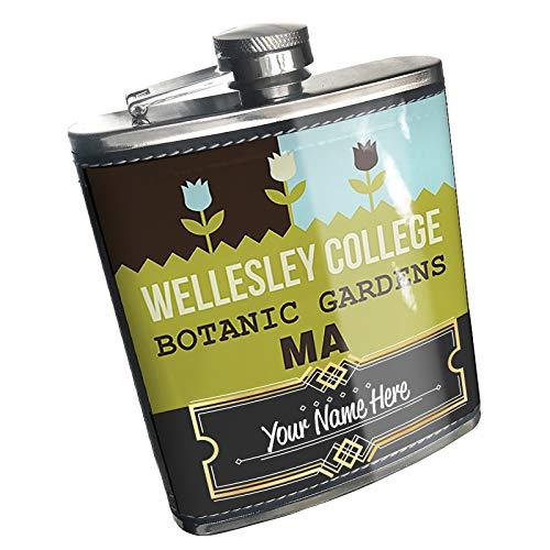 (Neonblond Flask US Gardens Wellesley College Botanic Gardens - MA Custom Name Stainless Steel)