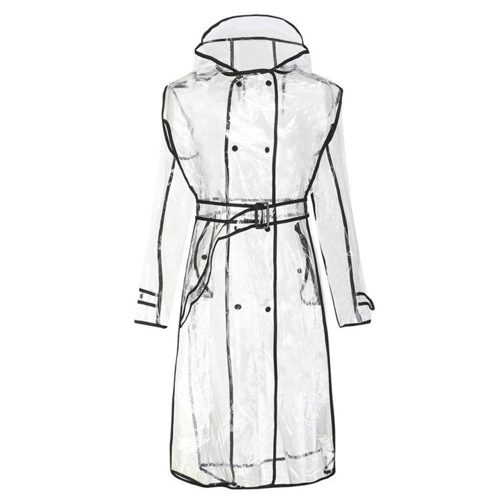CapsA Rain Poncho -Unisex Men Women Reusable Raincoat Two Pockets -Stay Dry in The Rain Demiawaking Womens Girls Clear Raincoat Waterproof Rain Jacket Outwear Travel by CapsA