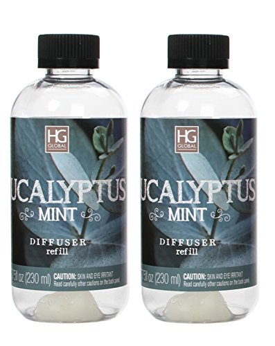 Hosley Aromatherapy Set of 2 Premium Eucalyptus Mint Reed Diffuser Refills Oil, 230 ml Made in USA. Bulk Buy. Ideal Gift for Wedding, Spa, Reiki Meditation. Pet Dog Bathroom Odor Exterminator O4
