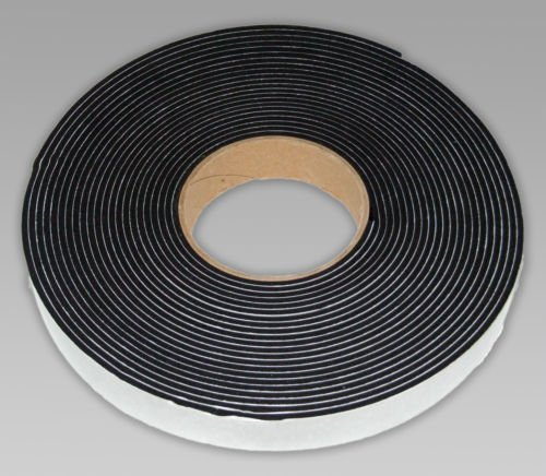 Neoprene sponge rubber self adhesive strip 25mm wide x 3mm thick x 5m long - weather, noise seal Camthorne