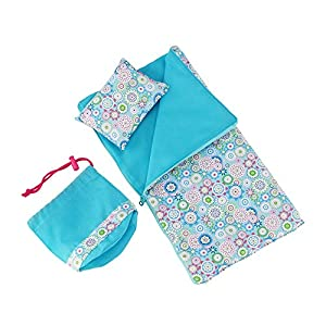 14 Inch Doll Clothes Accessories | Reversible Multicolored Sleeping Bag Bed Bedding Set with Pillow and Drawstring Storage Bag | Fits American Girl Wellie Wishers and Glitter Girls Dolls