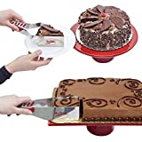 2 cutter - Mrs. Fields (Set of 2) Cake Cutters & Servers, Square & Wedge Slicers For Happy Birthday, Wedding, Pie