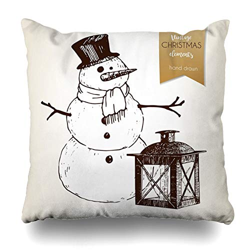 Ahawoso Throw Pillow Cover Snowflake Candle Snowman Lantern Vintage Holidays Candlestick Celebration Character Cheerful Design Home Decor Zippered Pillowcase Square Size 16 x 16 Inches Cushion Case Chinese Character Candle Lantern