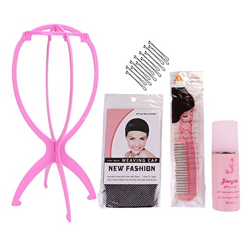 Wig Care (CCbeauty Portable Wig Stand Holder Folding Plastic Wig Hanger with Wig Cap,Wig Hair Conditioner,Anti-static Steel Tooth Wig Comb,Hair Clips,Professional,5 Pieces Synthetic Wig Care Kit)