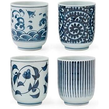 Miya Set of 4 Assorted Designs Blue u0026 White Japanese Teacups  sc 1 st  Amazon.com & Amazon.com | Miya Set of 4 Assorted Designs Blue u0026 White Japanese ...