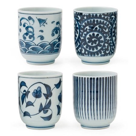Miya Set of 4 Assorted Designs Blue & White Japanese Teacups