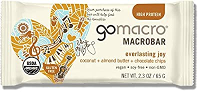 GoMacro Organic Macrobars, EVERLASTING JOY coconut + almond butter + chocolate chips, 2.4 Ounce (Pack of 12)