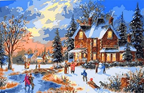amazoncom diy paint by number kits christmas scenes 16x20 inch frameless toys games