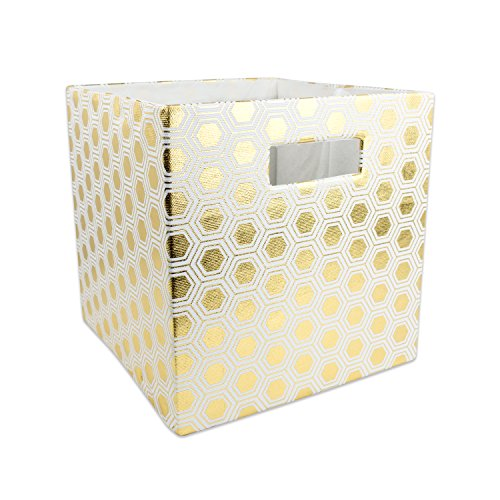 DII Hard Sided Collapsible Fabric Storage Container for Nursery, Offices, & Home Organization, (13x13x13″) – Honeycomb Gold